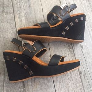 Donald J. Pliner Shoes - Black leather wedges size 7 1/2 DONALD J PLINER